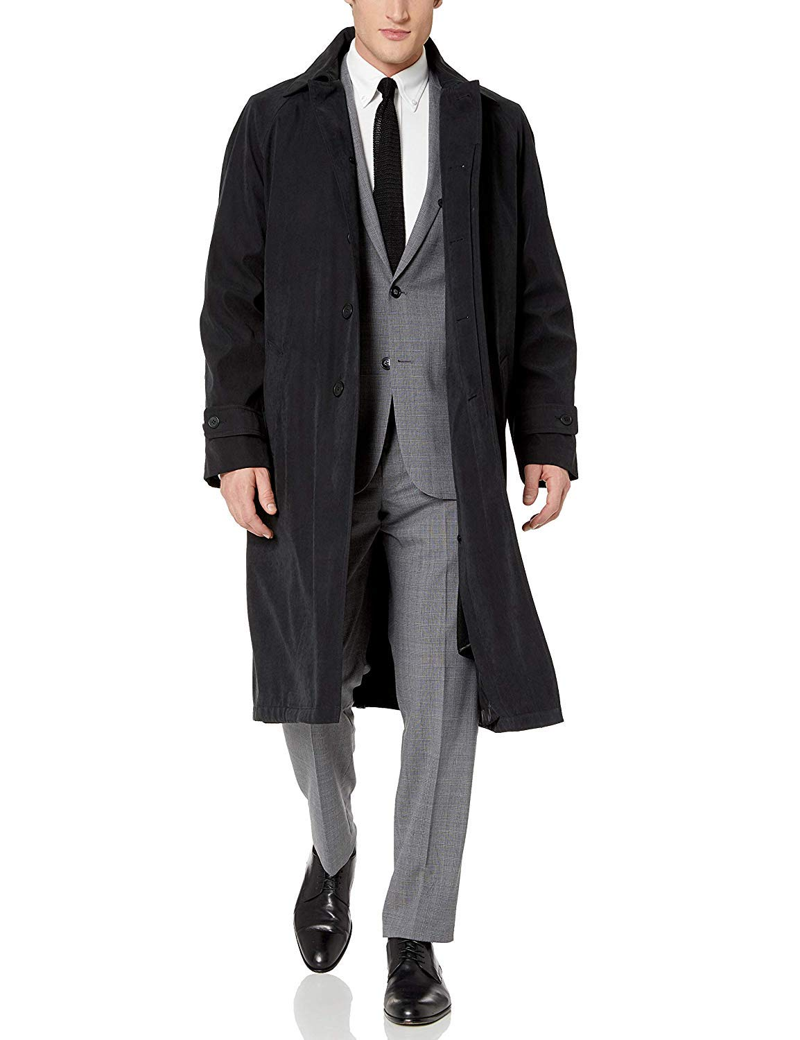 Adam Baker by Cianni Men's Single Breasted Black Full Length All Year Round Raincoat 40R by Adam Baker