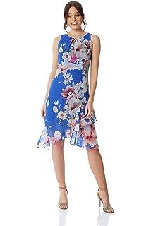 c43aadc01153 Roman Originals Women Floral Chiffon Hanky Hem Ruffle Dress - Ladies  Everyday Smart Casual…