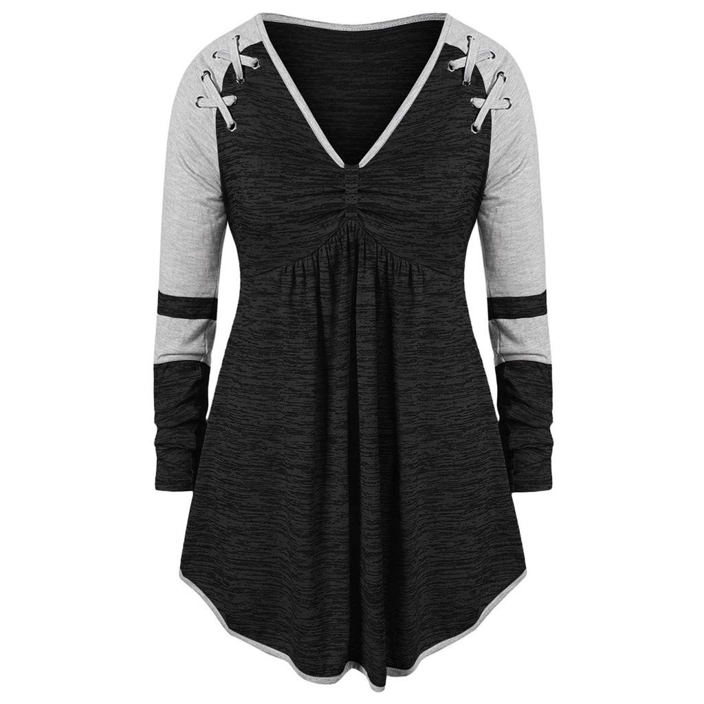 Malbaba Henley Shirt Dress,Fashion Women Plue Size V-Neck Ruched Patchework Grommet Ribbons Color Block Top