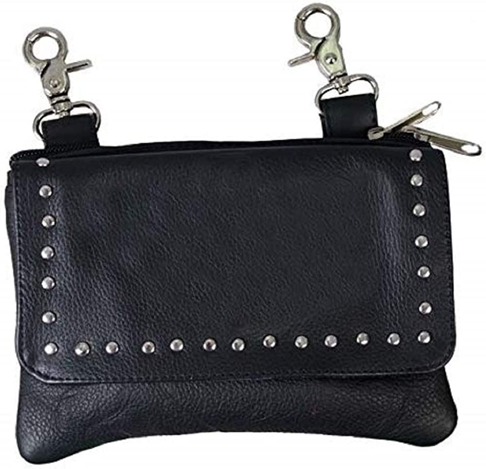 Black Ladies Clip Pouch Purse, Adjustable Strap Lobster Claw Clips, 7.75 X 5 X 1