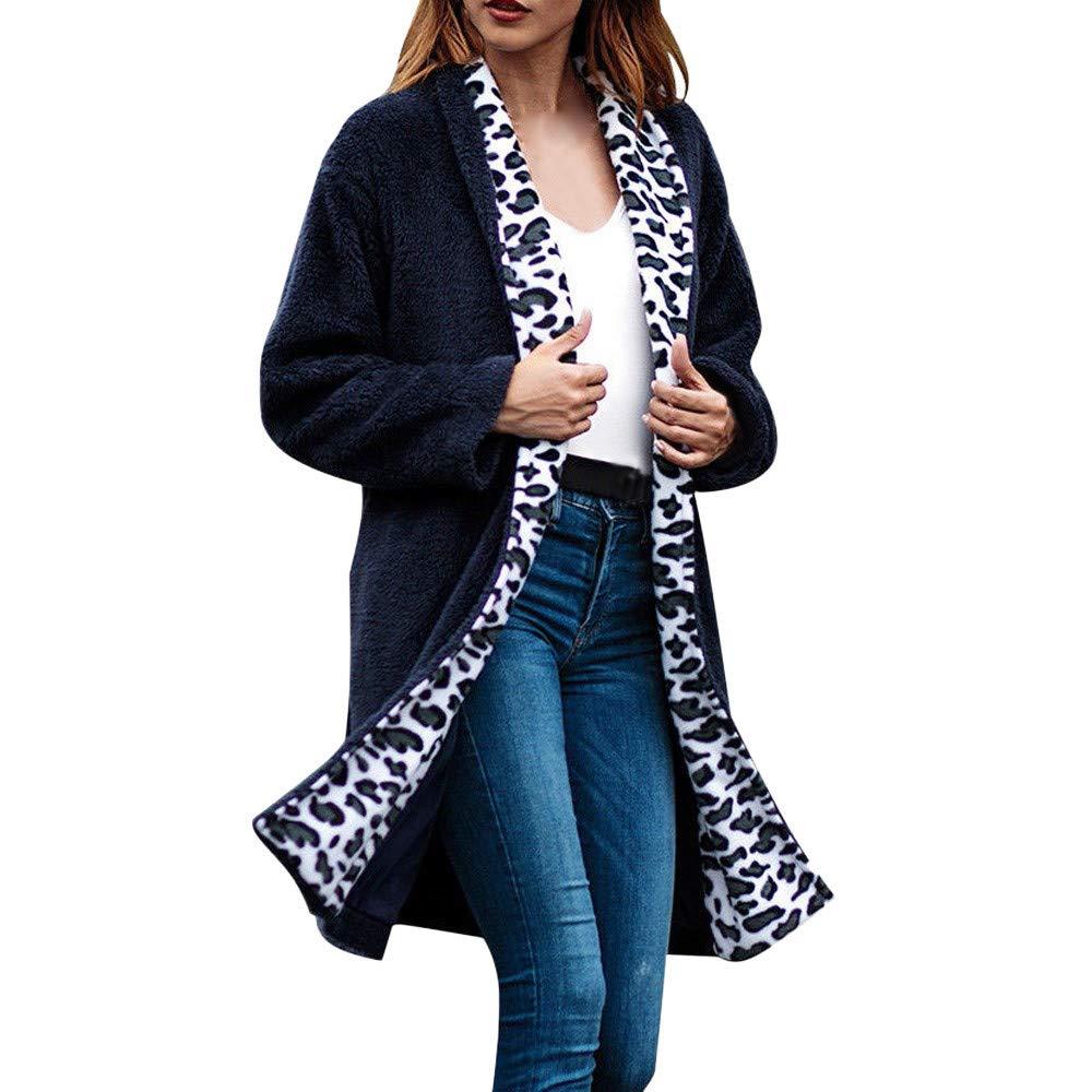 VRTUR Damen Jacke Parka Mantel Winterjacke Winter Leopard Patchwork Langarm Strickjacke Bluse