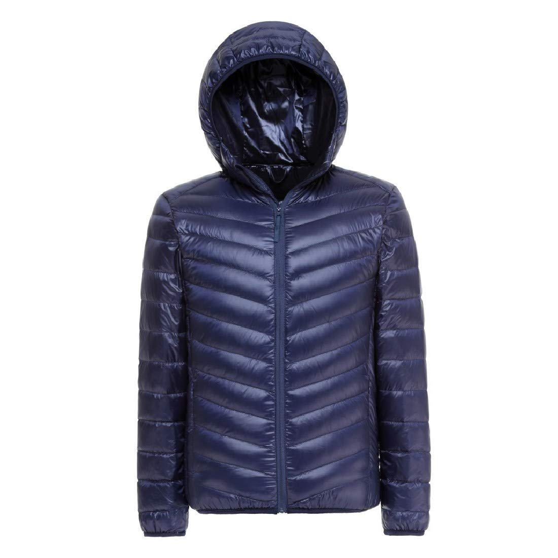YUNY Men Light Weight Hood Mini Warm Winter Down Coat Navy Blue S