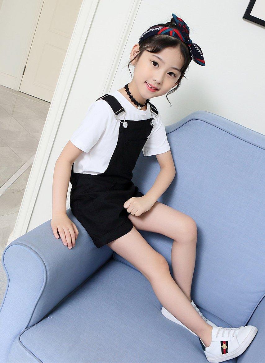Sitmptol Big Girls Kids Cotton Overalls Jumpsuits Casual Shortalls Bib Romper Black 160 by Sitmptol (Image #7)
