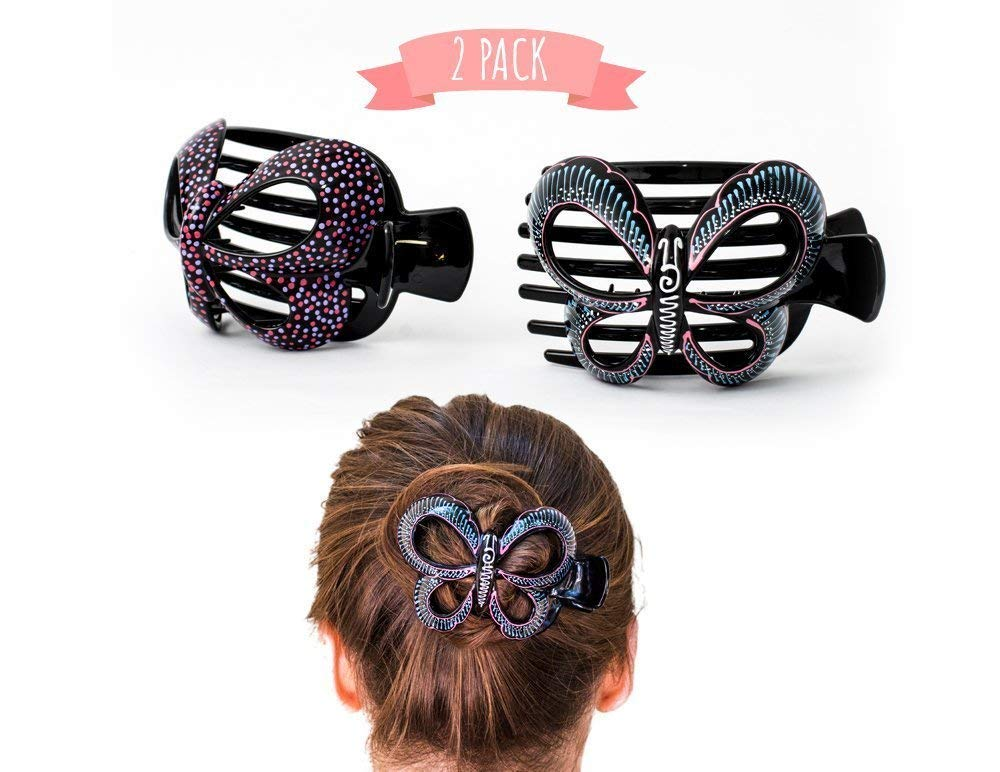 2 Pcs hand crafted Hair clip. Home Hair Styling for Women & Girls Made Easy. This Attractive Hair Accessory can be use as a bun maker or a hair claw. For thick and thin hair. Uniquely Hand Painted