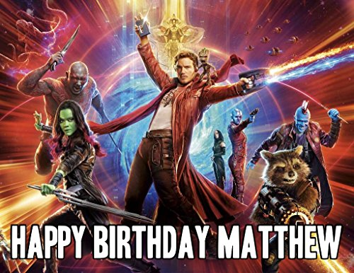 Guardians of the Galaxy Image Photo Cake Topper Sheet Personalized Custom Customized Birthday Party - 1/4 Sheet - 17338 ()