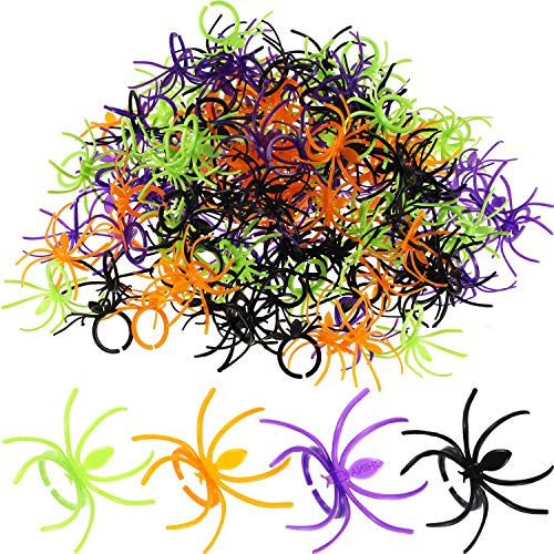 288 Pieces Plastic Spider Rings Spider Party Accessories Halloween Party Favors, 4 Colors -