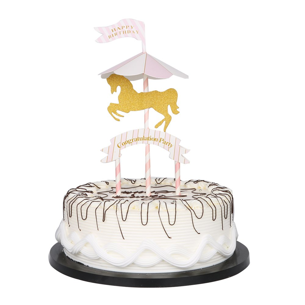 Amazon.com: YUINYU Happy Birthday Cake Topper Gold Carousel for ...