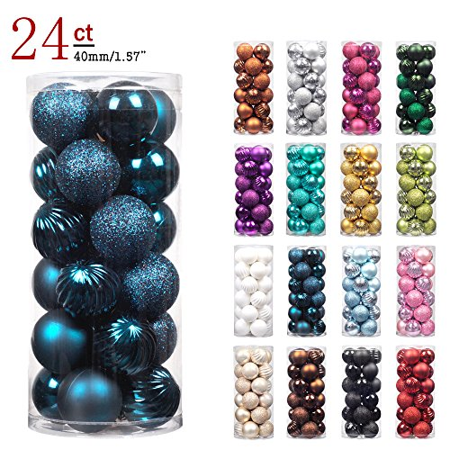 "KI Store 24ct Christmas Ball Ornaments Shatterproof Christmas Decorations Tree Balls SMALL for Holiday Wedding Party Decoration, Tree Ornaments Hooks included 1.57"" (40mm Midnight Blue) (Small Tree Decorate Christmas)"