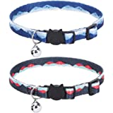 BINGPET Breakaway Cat Collar with Bell 2 Pack, Soft and Adjustable Kitten Collar with Artistic Landscape Pattern…