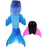 Brinny Queue de Sirène pour la Natation avec Nageoire Monopalme Adultes Enfants 2pcs Costume Swimmable Cosplay Costume