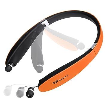 SAVFY® Soporte Bluetooth 4.0 Auriculares Microcascos Inalámbricos Plegable Tirilla con Retráctil para iPhone, Android, otros Dispositivos Aabilitados ...