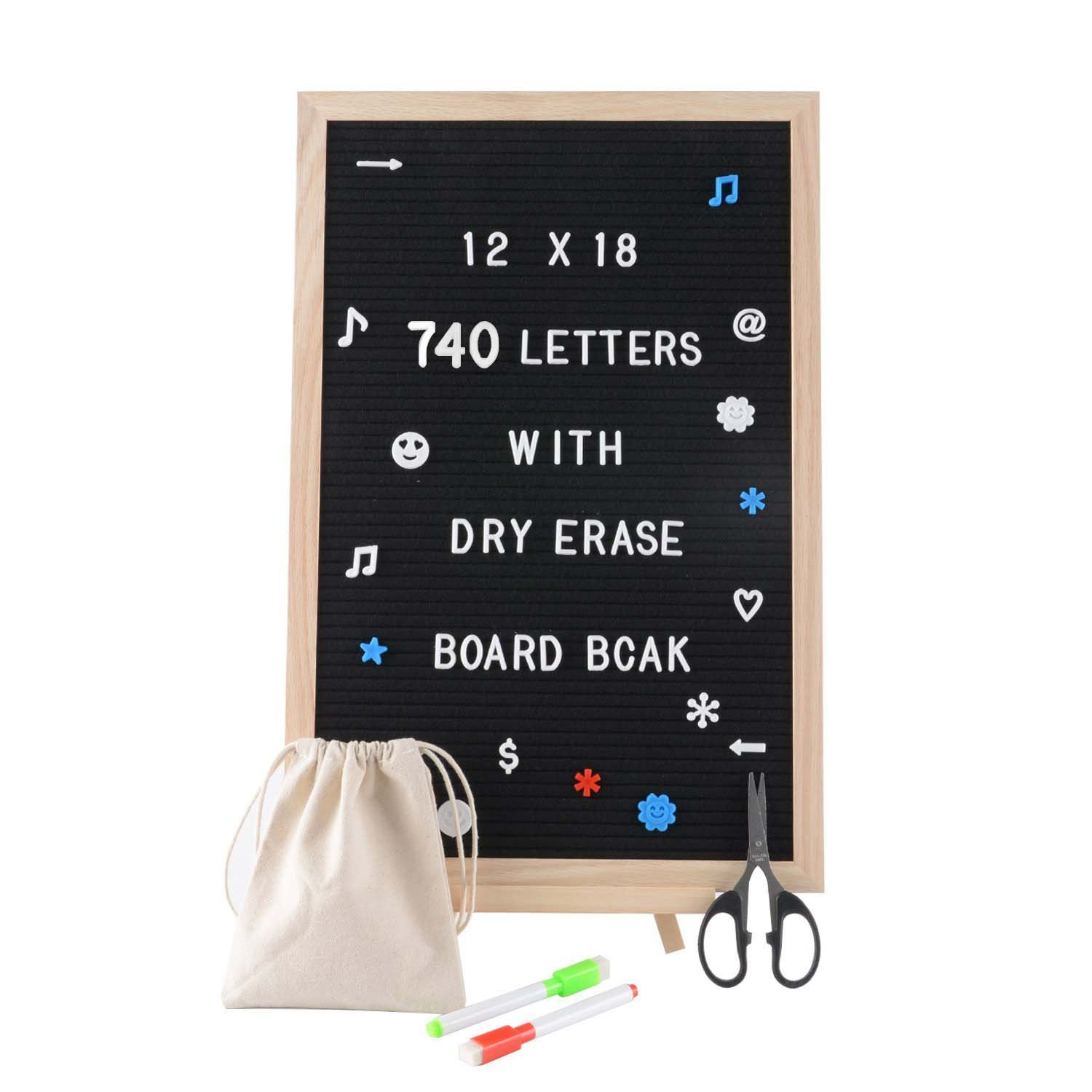 SPACECARE Black Felt Letter Board with Dry Erase Board Back, 720PCS Letters, Numbers & Symbols, 12x18 inches Wall Mount Changeable Message Board Sign, Word Board, Letterboard