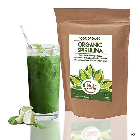 Espirulina Orgánica en Polvo, Apto Para Veganos, Rica en Nutrientes, Ayuda al Rendimiento