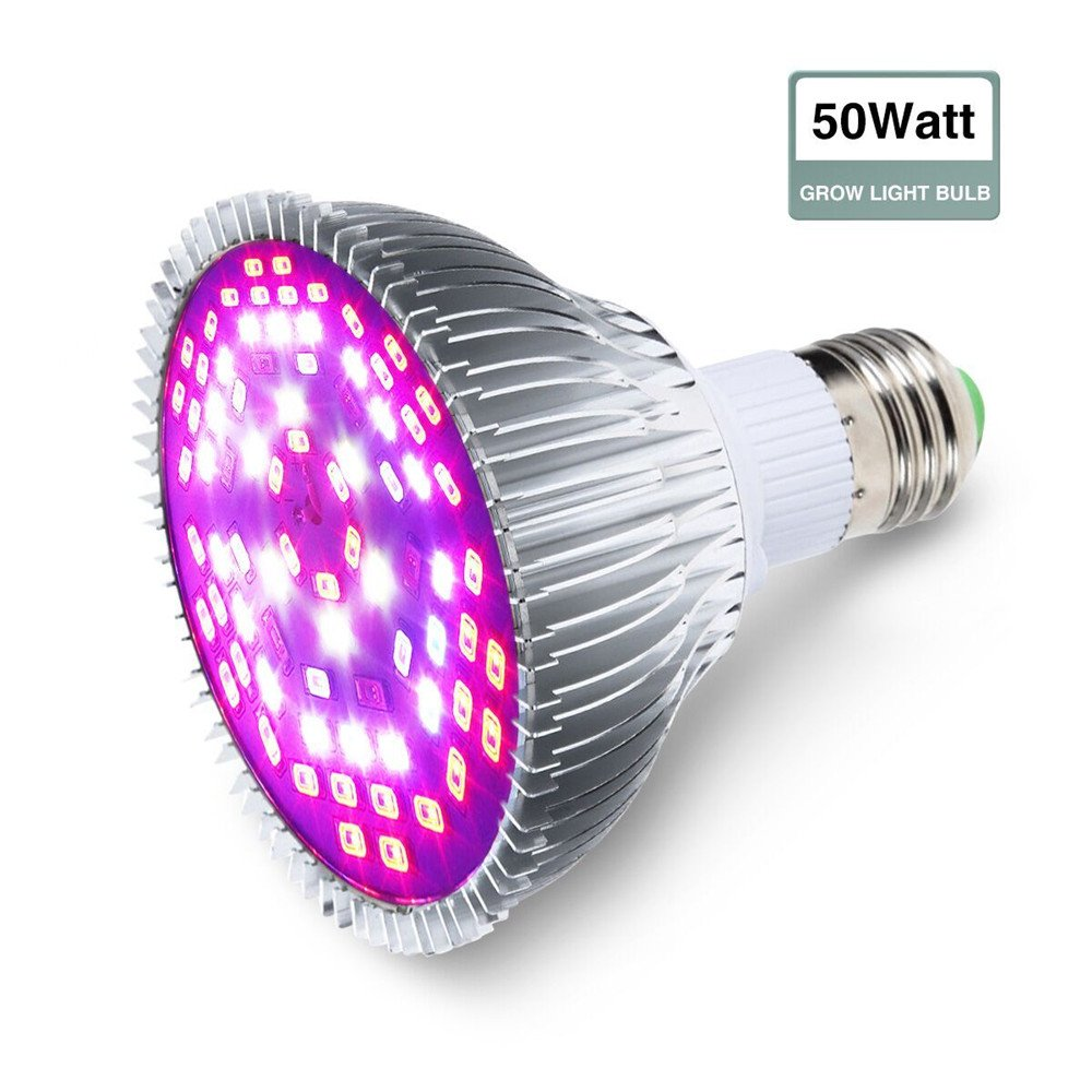 Grow Light Bulb, GLIME 50W Led Grow Plant Light, E27 Growing Lamp P30 Full Spectrum Grow Bulbs for Flowering Lighting Indoor Garden Plants Greenhouse and Hydroponic
