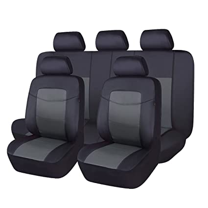 Amazon Com Flying Banner Grey 11 Pcs Pu Leather Car Seat Covers