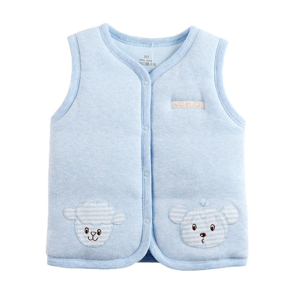 Monvecle Baby Warm Vests Unisex Infant to Toddler Padded Waistcoat (3T-4T, Light Blue)