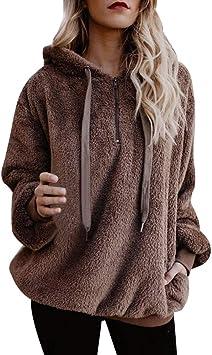 Women/'s Faux Fur Pullover Long Sleeve Baggy Hoodie Winter Warm Casual Sweatshirt