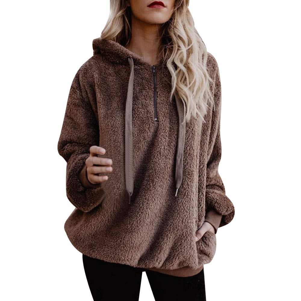 Kobay Womens Tops, Ladies' Hooded Sweatshirt Coat Winter Warm Wool Zipper Pockets Cotton Coat Outwear Blouse Fashion Loose Clothes Yours Clothing Gifts for Women T-Shirt Pullover