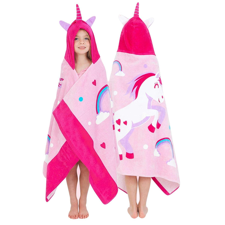 Yaye! ガールズ ユニコーン フード付きタオル コットンローブ 子供や幼児へのギフトに最適 フードやバスローブの後に使用 ポンチョ フード付き   B07HCMKL72
