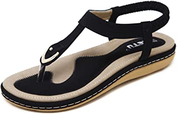 0df17b9cedce SIKETU Women Bohemia Ethnic Flip Flops Soft Flat Sandals Woman Casual  Comfortable Plus Size Wedge Sandals