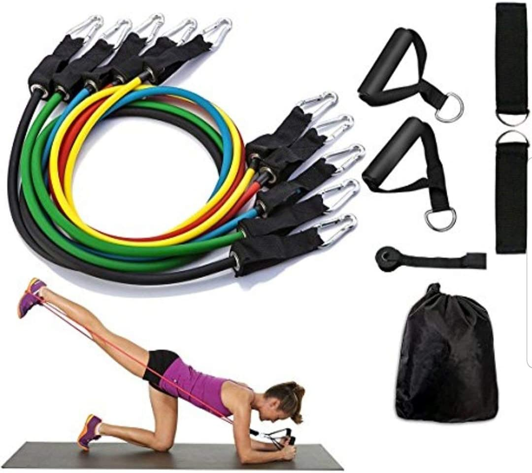 SAG Collection Resistance Bands Set Include 5 Stackable Exercise Tubes 11Pcs