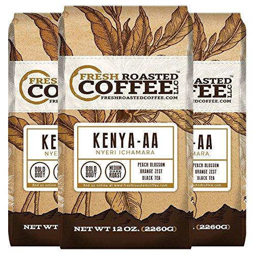 Kenya AA Nyeri Ichamara, Ground Coffee, Fresh Roasted Coffee LLC (Pack of 3)