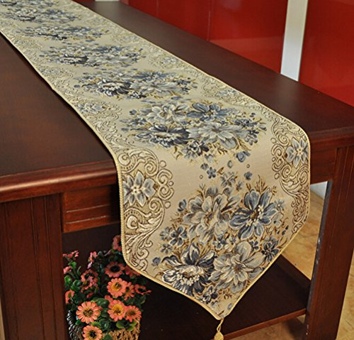 Oval Coffee Table Runner: Table Runners BlueTop Classic Embroidery European Style