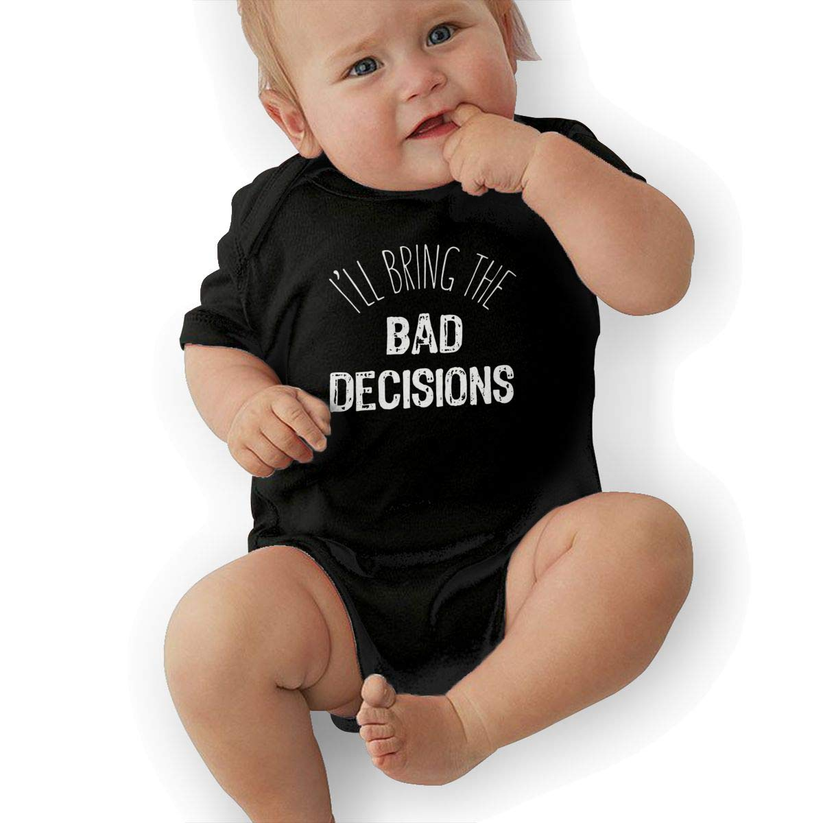 U88oi-8 Short Sleeve Cotton Rompers for Baby Boys and Girls Soft Ill Bring Bad Decisions Onesies