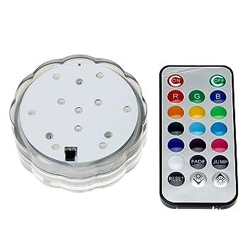 Super Bright 10 LEDs Reusable Submersible LED Light RGB Color