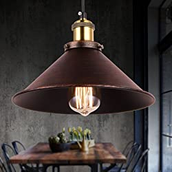 Rustic Pendant Lights Retro Farmhouse Pendant lighting Fixtures,1-Light with Adjustable Hanging Height for Bar Home Kitchen Barn,Diameter 10.23inch (Antique Black and Golden)