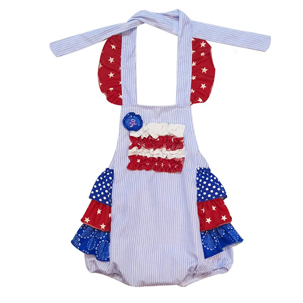 Kapmore Baby Girl Romper Star Stripe Sling Toddler Jumpsuit Newborn Bodysuit (Multicolor_Large) by Kapmore