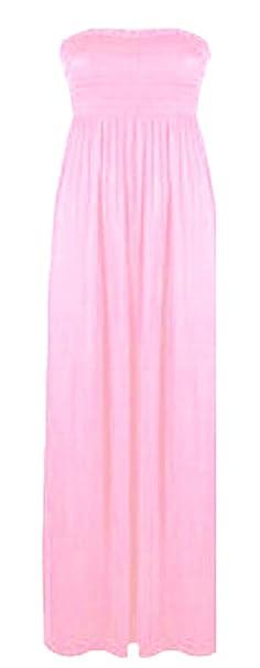 fd46fff06a Elum ® Womens Sheering Bandeau Boobtube Summer Maxi Dress  Amazon.co.uk   Clothing