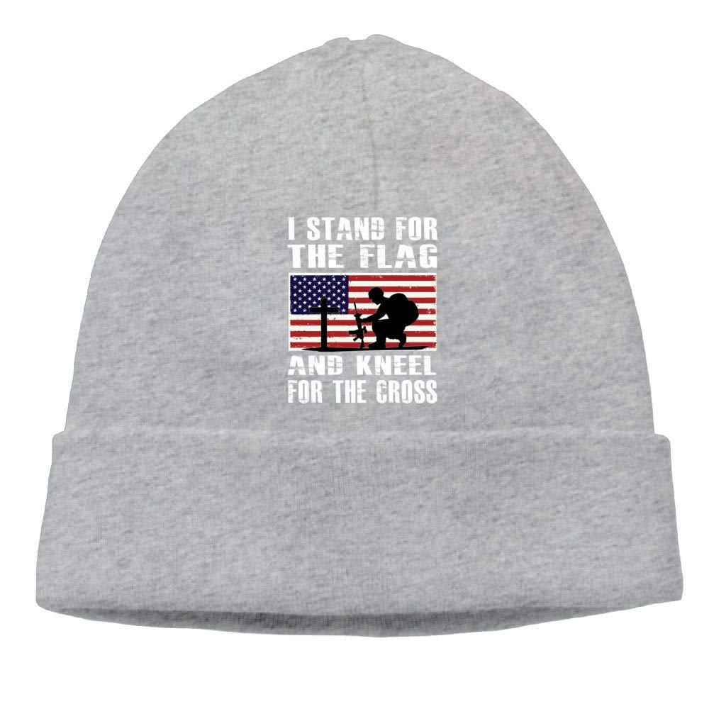 I Stand for The Flag and Kneel for The Cross Beanie Hat Knit Cap for Mens