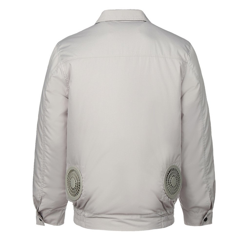 空調服 空調風神服 作業服 長袖ブルゾン 綿100% 空調服+リチウムセット B072VC8VV4 XX-Large|グレー