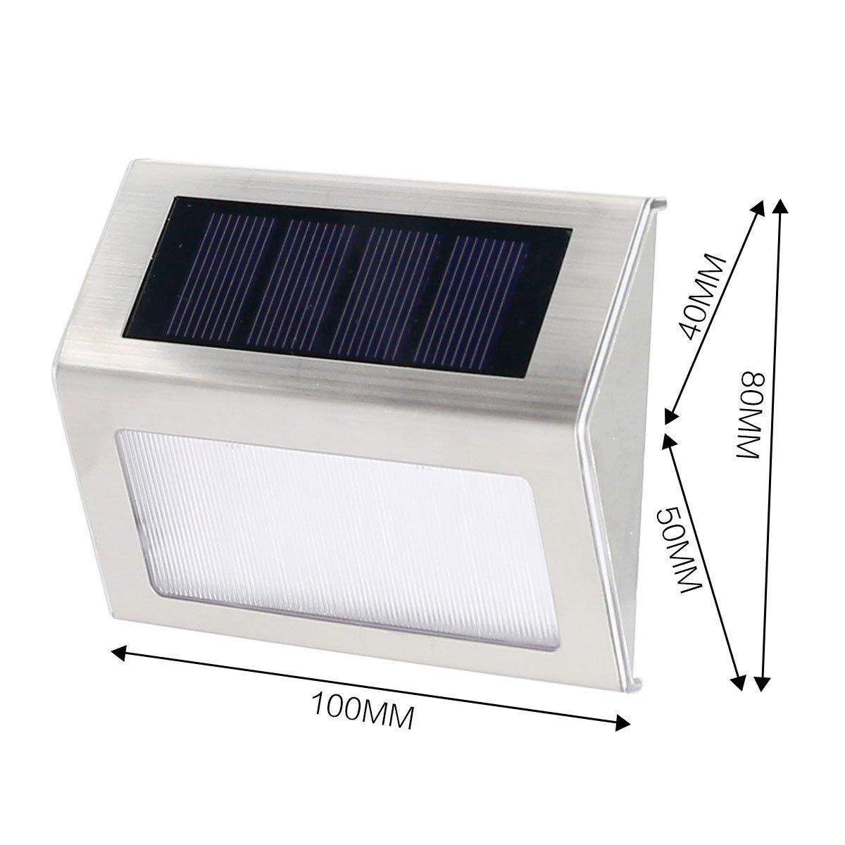 Seeteck solar lights outdoor,Solar Step Lights Outdoor Waterproof with led lights, mini Solar Stair Lights for Garden Deck Fence or Patio, 2 Pack (White Light)