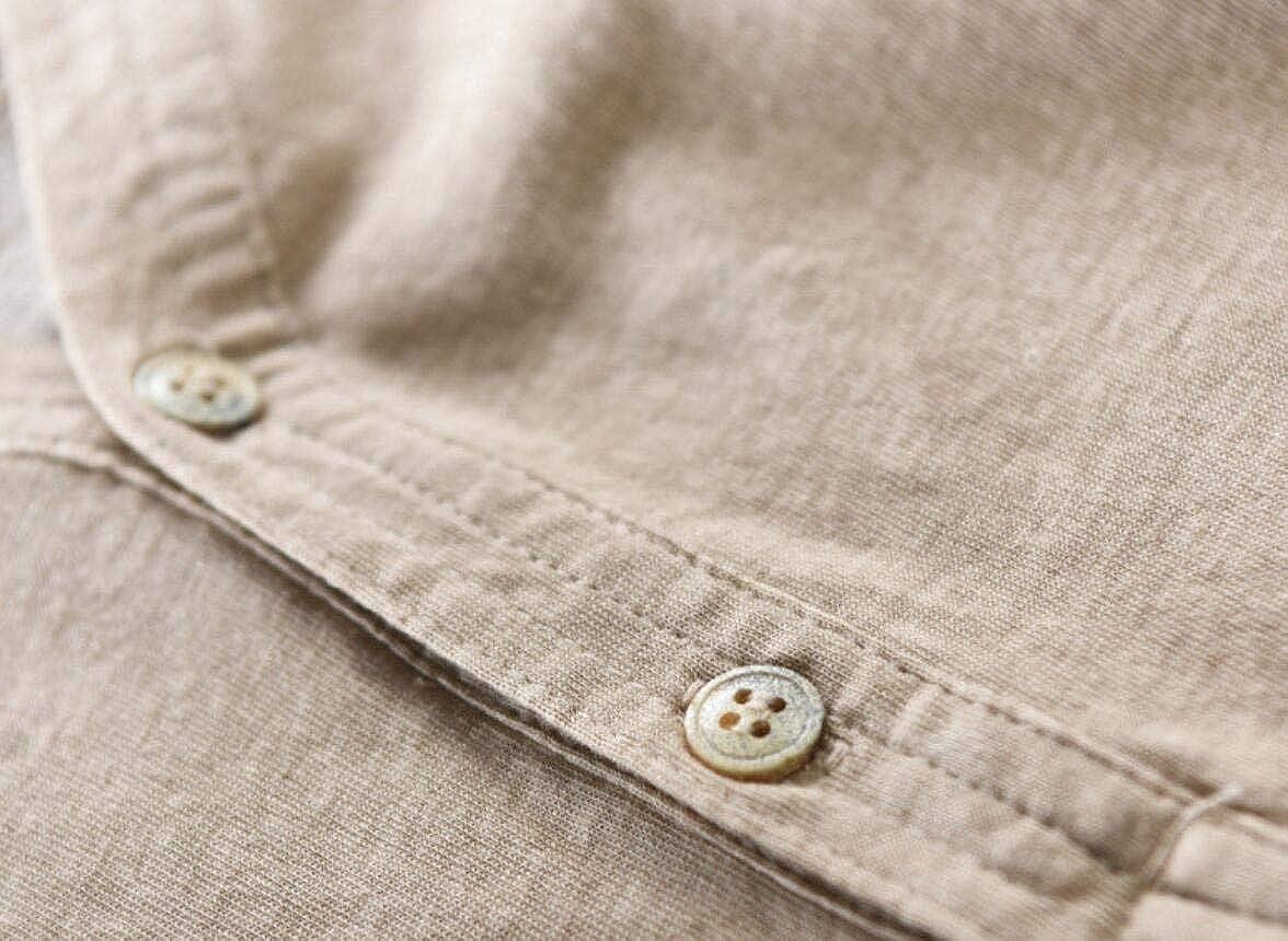 ARTFFEL Men Roll Sleeve Plain Casual V Neck Button Down Shirts
