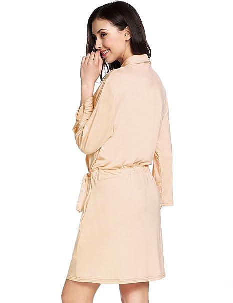 497c2f511419 Avidlove Womens Bathrobe Three Quarter Sleeve Robe Cotton Comfort Sleepwear  at Amazon Women s Clothing store