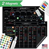"Magnetic Behavior Chalkboard Rewards Chore Chart Set – Multiple Kid Chore Chart System w/Reusable Monthly Calendar, Responsibility Magnets & Dry Erase Refrigerator Reward Incentive – 17"" x 11"""