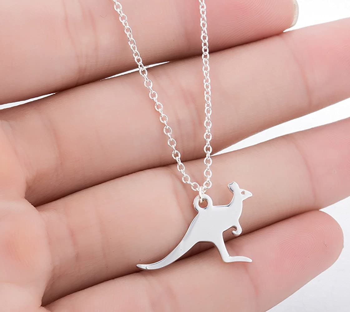 SIENNA693 Kangaroo Necklace Australian Animal Pendant Clavicle Necklace Gold Silver Rose Gold NP423
