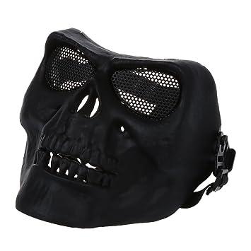 TOOGOO(R) Mascara de proteccion de cara completa Asustadizo Esqueleto craneo caza bola de