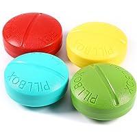 BlueBeach Pack de 2 Pilulier de Voyage Boîte à Pilules Vitamines Tablet de 4 Compartiments de Rangement (Couleur Aléatoire)