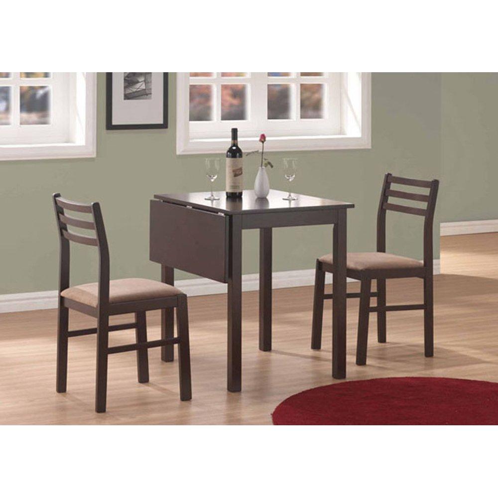 Amazon.com: Monarch Specialties 3 Piece Solid Top Drop Leaf Dining Set,  Cappuccino: Kitchen U0026 Dining