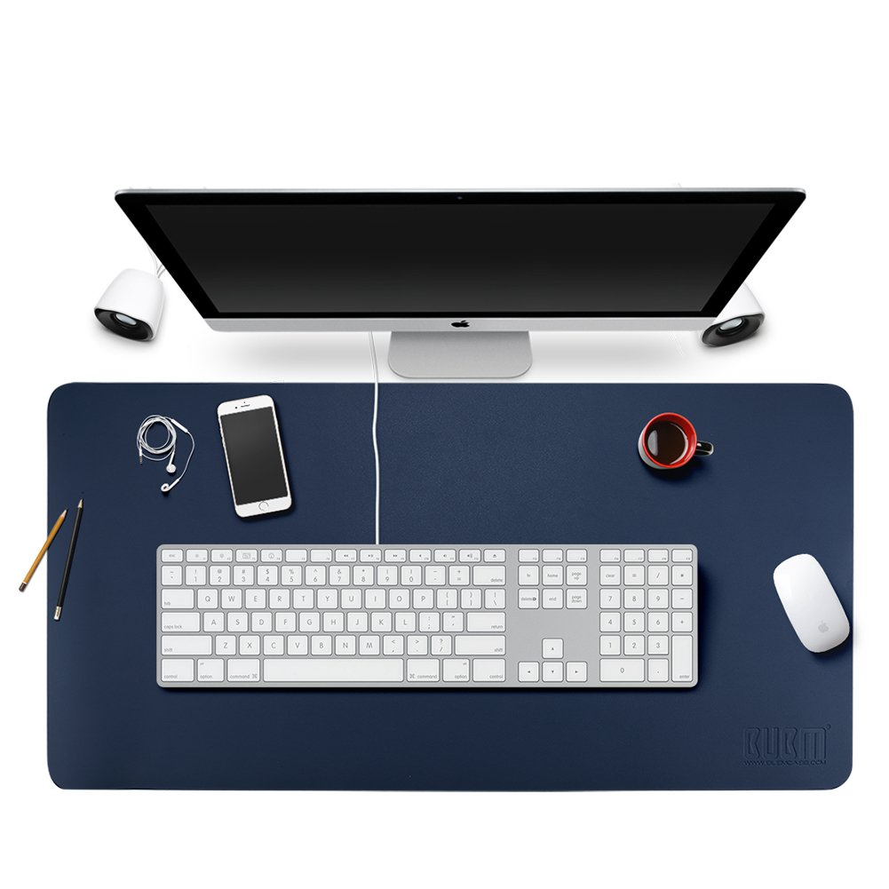 BUBM Office Desk Mat Leather Desk Pad Blotters Gaming Mouse Pad with Smooth Surface,35.4''17.7'',Large (Navy Blue)