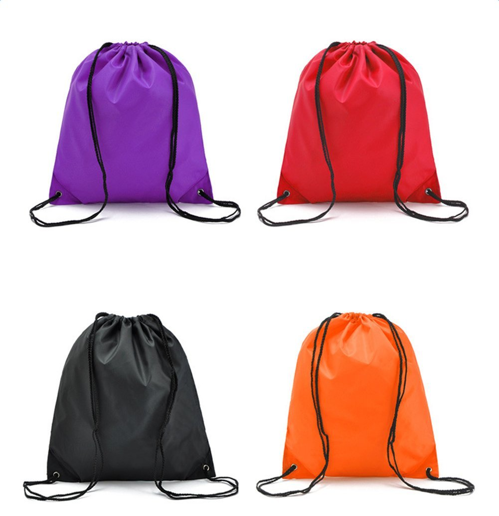 Oyfel Drawstring Backpack Bags Waterproof Folding Shoulder Sacks Bags Oxford Rucksack Storage Pouch for PE Sports Travel Gym School Home Picnic Beach Red