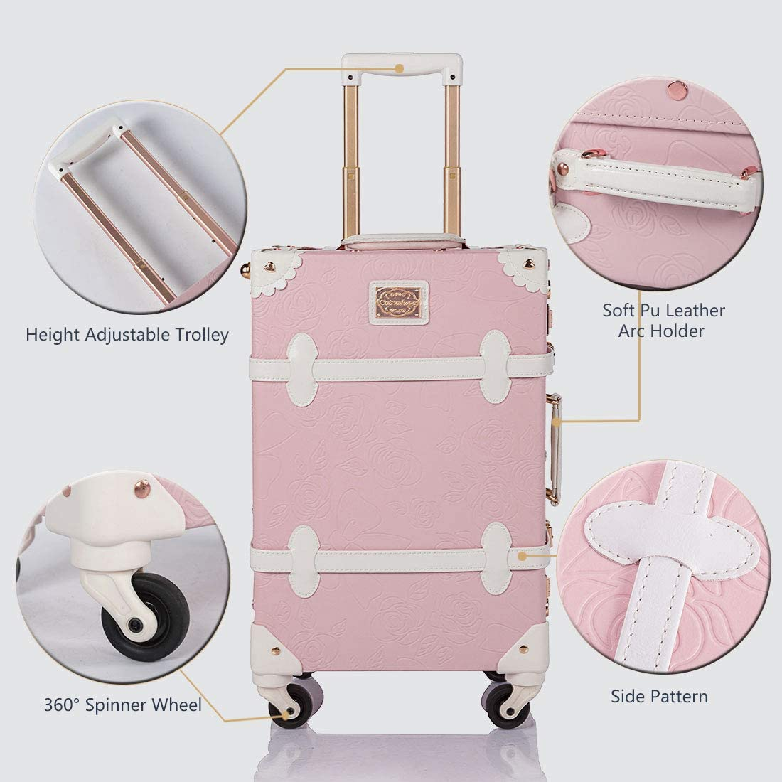 COTRUNKAGE Vintage Trunk 2 Piece Luggage Set TSA Lock Carry On Suitcase for Women with wheels Light Grey