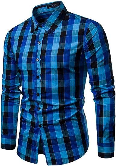 Camisas Hombre Manga Larga, Btruely Camisa de Manga Larga Casual Colorida otoño y del Invierno de Hombres Camisa Algodón Blusa Cálido Camisa Vaquera: Amazon.es: Ropa y accesorios