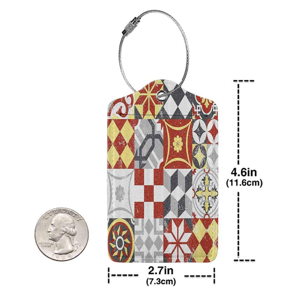 Durable luggage tag Farmhouse Decor Vintage Classic Heraldic Royal Family Icons in Ancient Distressed Motley Design Unisex Multi W2.7 x L4.6