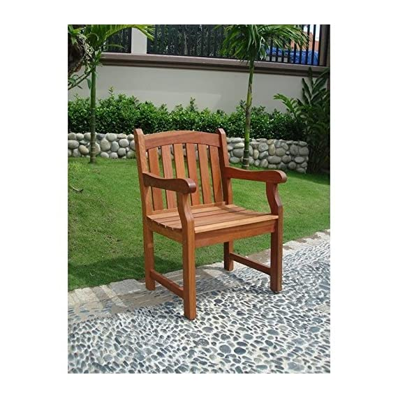 VIFAH V211 Outdoor Wood Arm Chair, Natural Wood Finish, 25 by 24 by 36-Inch - Pre-treated, expertly kiln-dried, extremely durable FSC Eucalyptus Mold, mildew, fungi, termites, rot and decay resistant Perfect for decks and patios - patio-furniture, patio-chairs, patio - 61jN58HRHCL. SS570  -