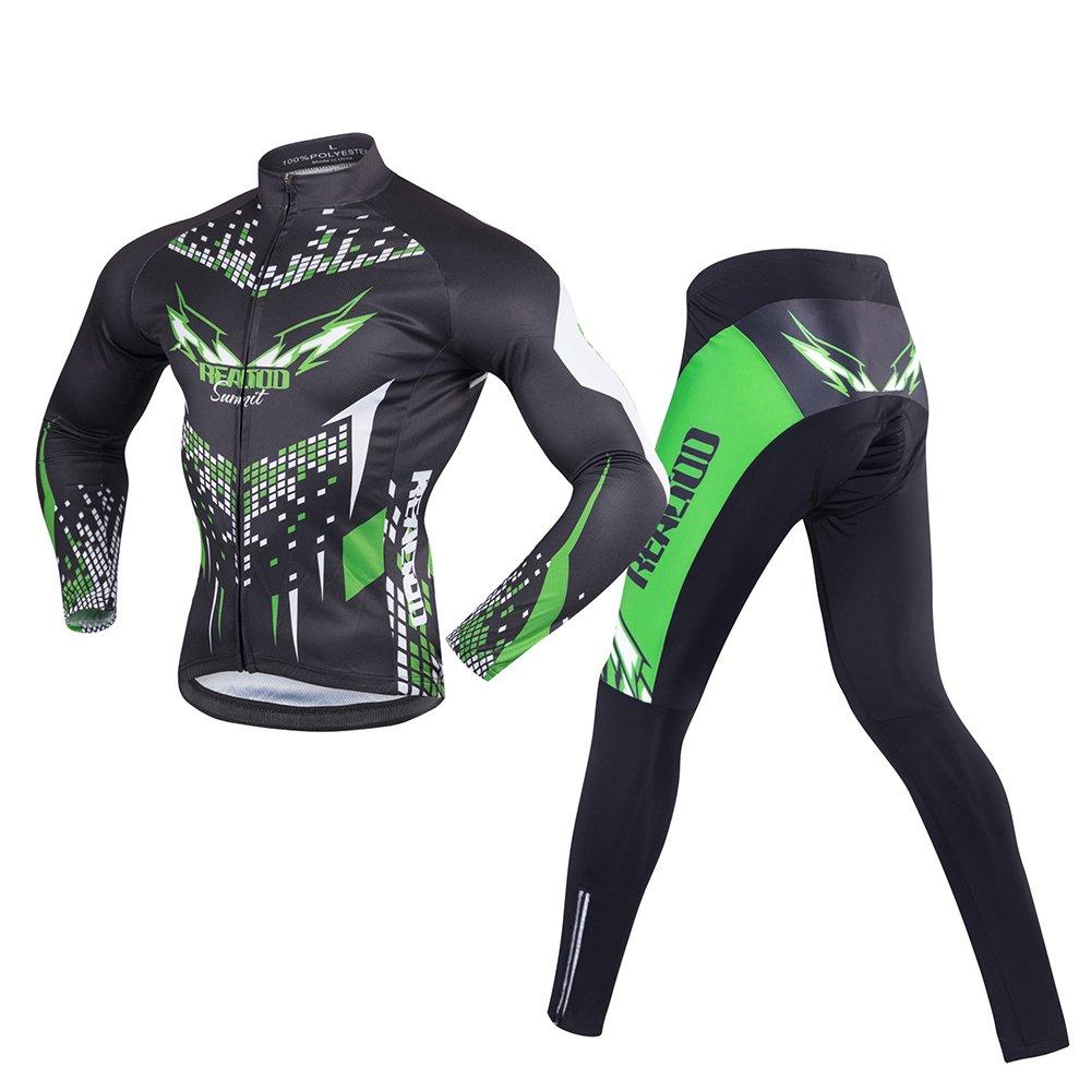 JYMDH Herren Radsportbekleidung Set, Langarm Radtrikot Thermo Fleece Winddicht Mountainbike Rennrad Shirt Mit Gepolsterten Hosen