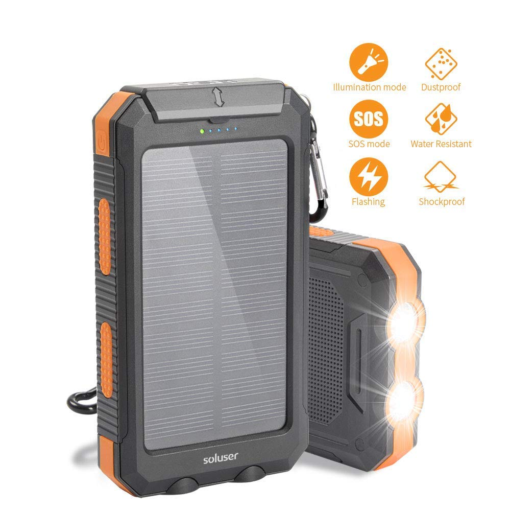 Soluser Solar Charger, 10000mAh Portable Phone Charger External Backup Battery Pack IP65 Water-Resistant 2 USB Ports Solar Power Bank with 2LED Flashlight, Carabineer and Compass